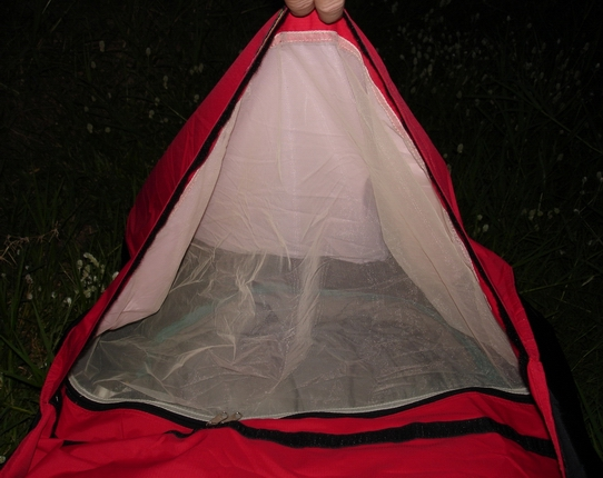 "Dark mosquito netting - easy to see out of and 20"" is enough to pull over your head to keep cool and look at the stars."