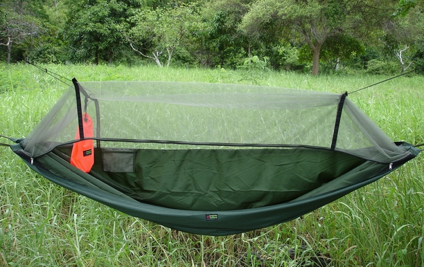 Medium image of olive green expedition hammock with dark green mosquito  ting