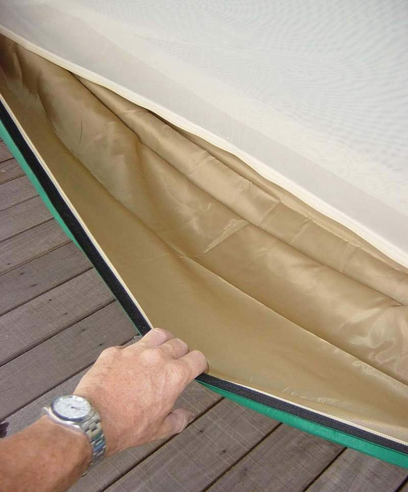 Tan inside lining allows for added strength and comfort while sleeping (click to enlarge).